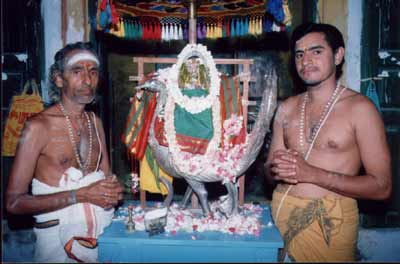 Devasthanam priests M.S. Muttusubramaniya Deekshidar (left) and son M. Shankar (right)