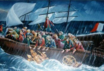 When the sea suddenly grew boisterous, the Dutch pirates threw the icons into the sea.